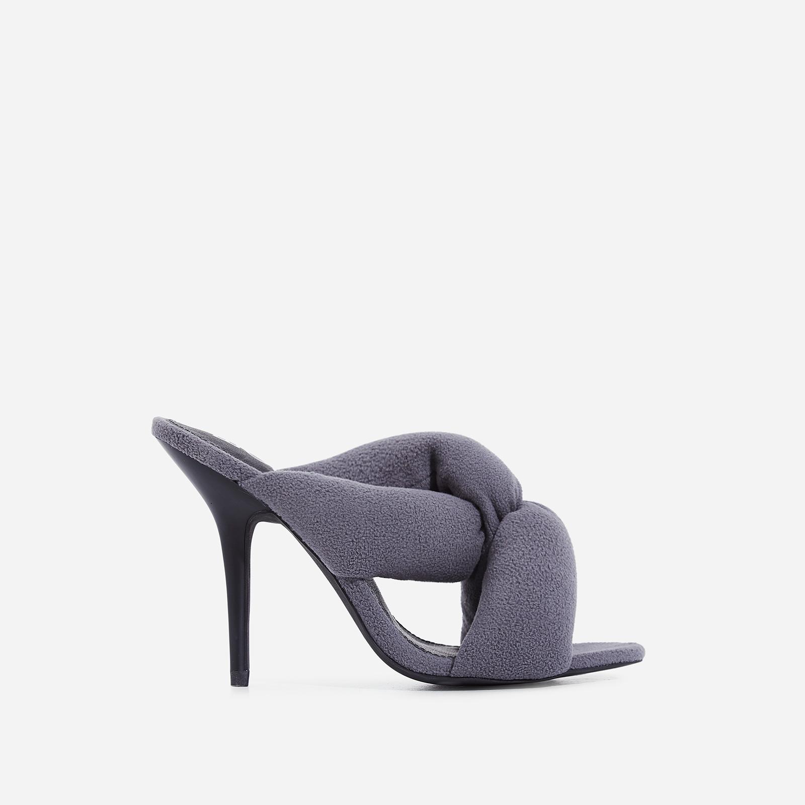 Shae Cushioned Crossover Heel Mule In Grey Fleece