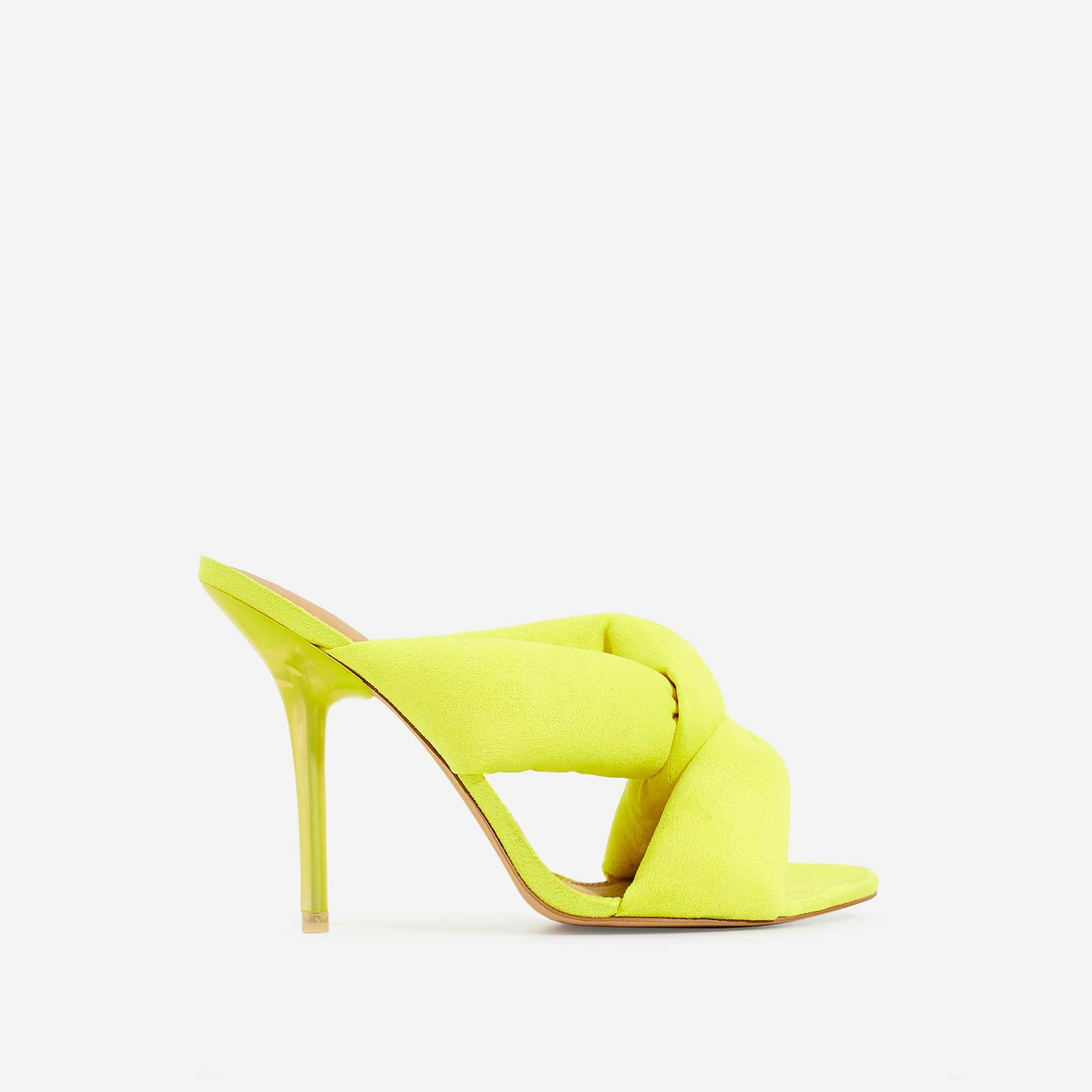Shae Cushioned Crossover Perspex Heel Mule In Yellow Fleece