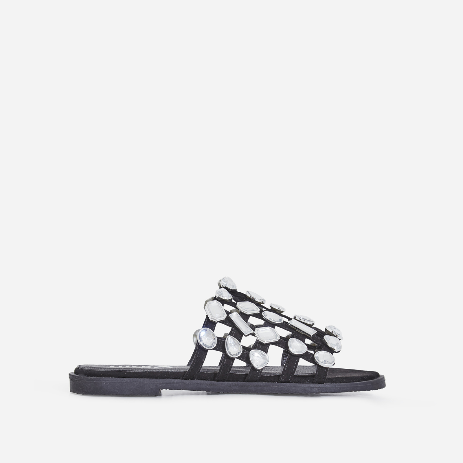 Shanti Crystal Studded Detail Slider In Black Faux Suede