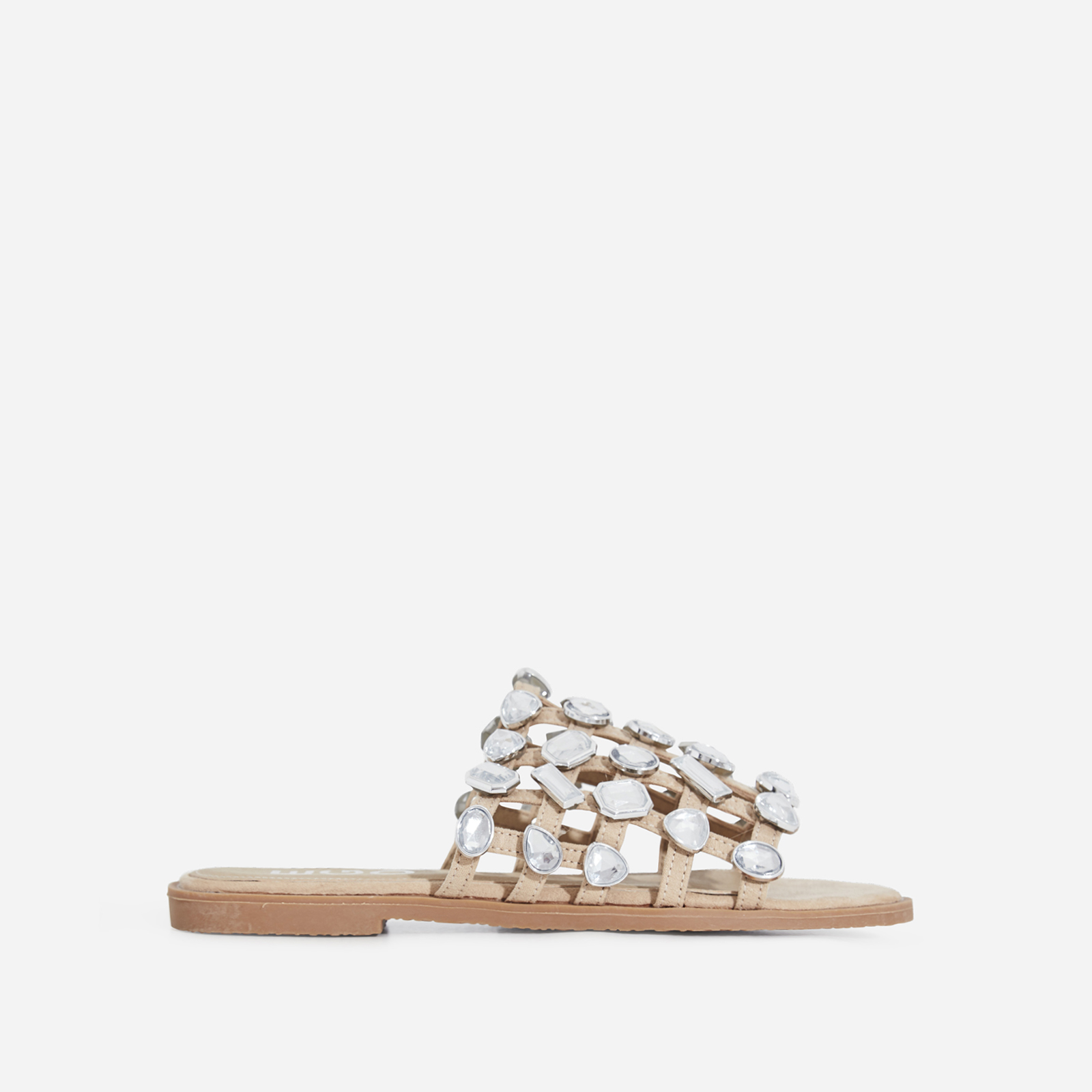 Shanti Crystal Studded Detail Slider In Nude Faux Suede