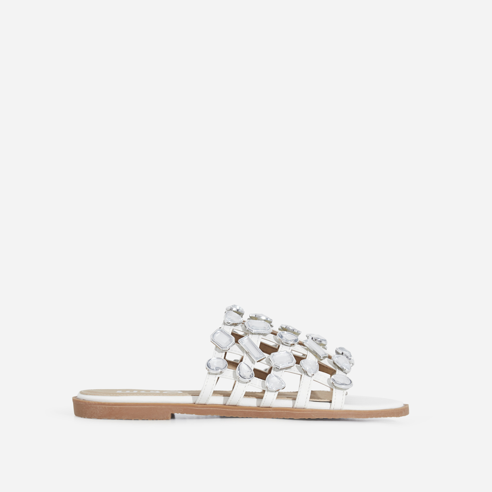 Shanti Crystal Studded Detail Slider In White Faux Leather