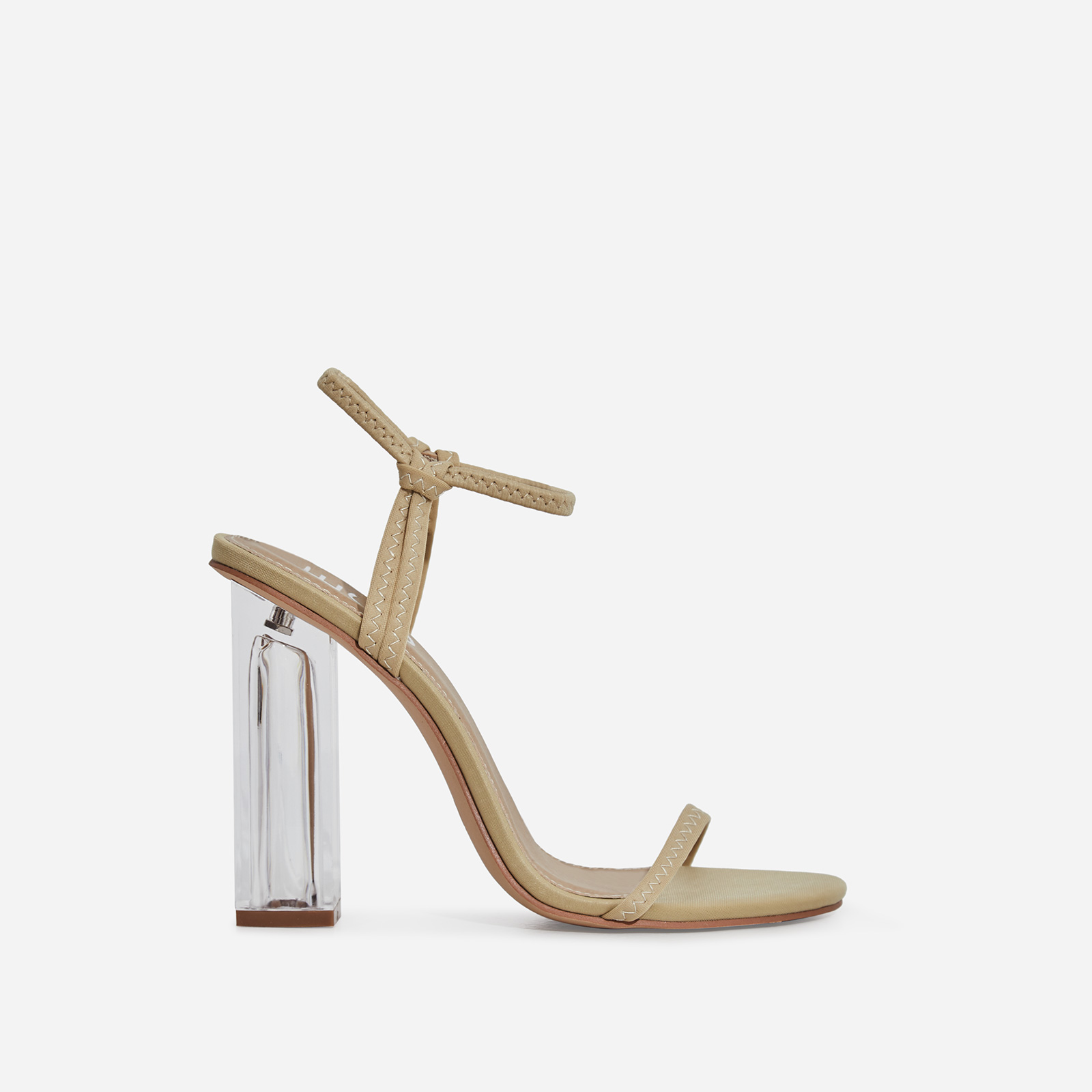 Lemon Barely There Perspex Block Heel In Nude Lycra