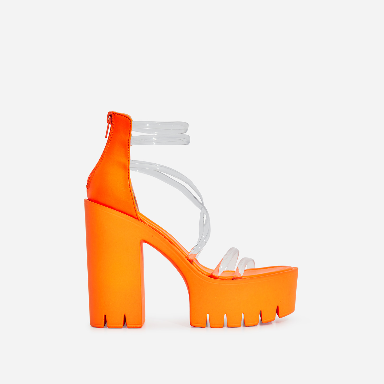 Shiloh Perspex Platform Block Heel In Neon Orange Faux Leather