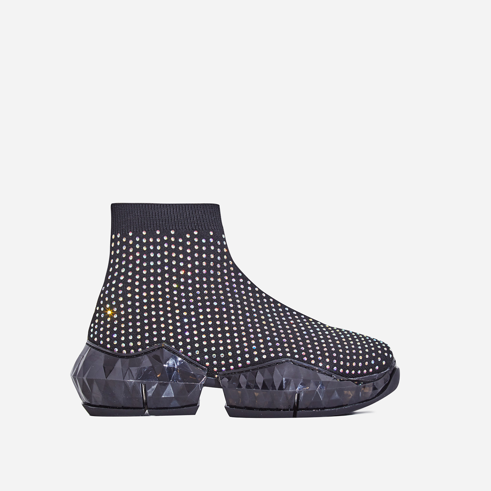 Shine Diamante Studded Black Chunky Sole Sock Trainer In Black Knit