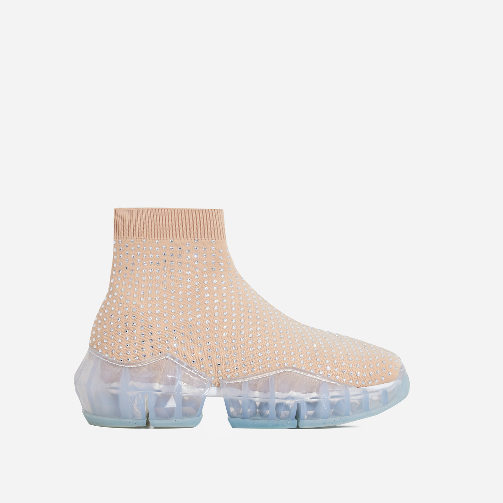 Shine Diamante Studded Chunky Sole Sock Trainer In Nude Knit