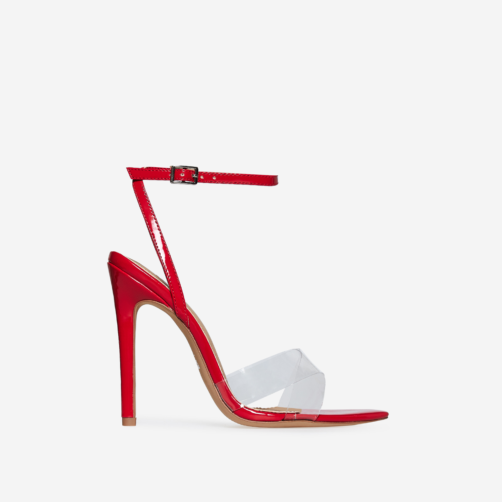 Celia Perspex Pointed Barely There Heel In Red Patent