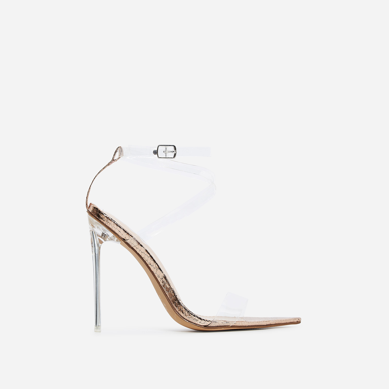 Skin Barely There Perspex Heel In Rose Gold Faux Leather