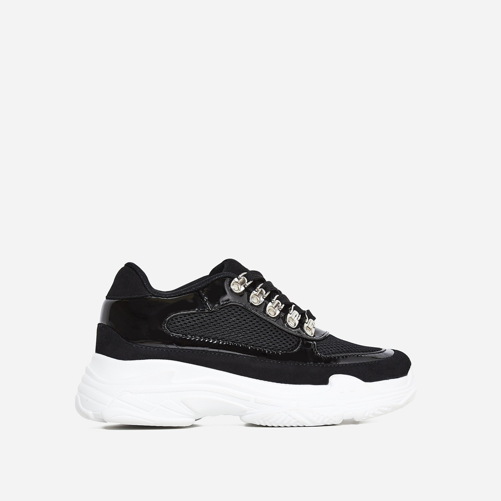 Cass Mesh Detail Trainer In Black Faux Suede And Patent