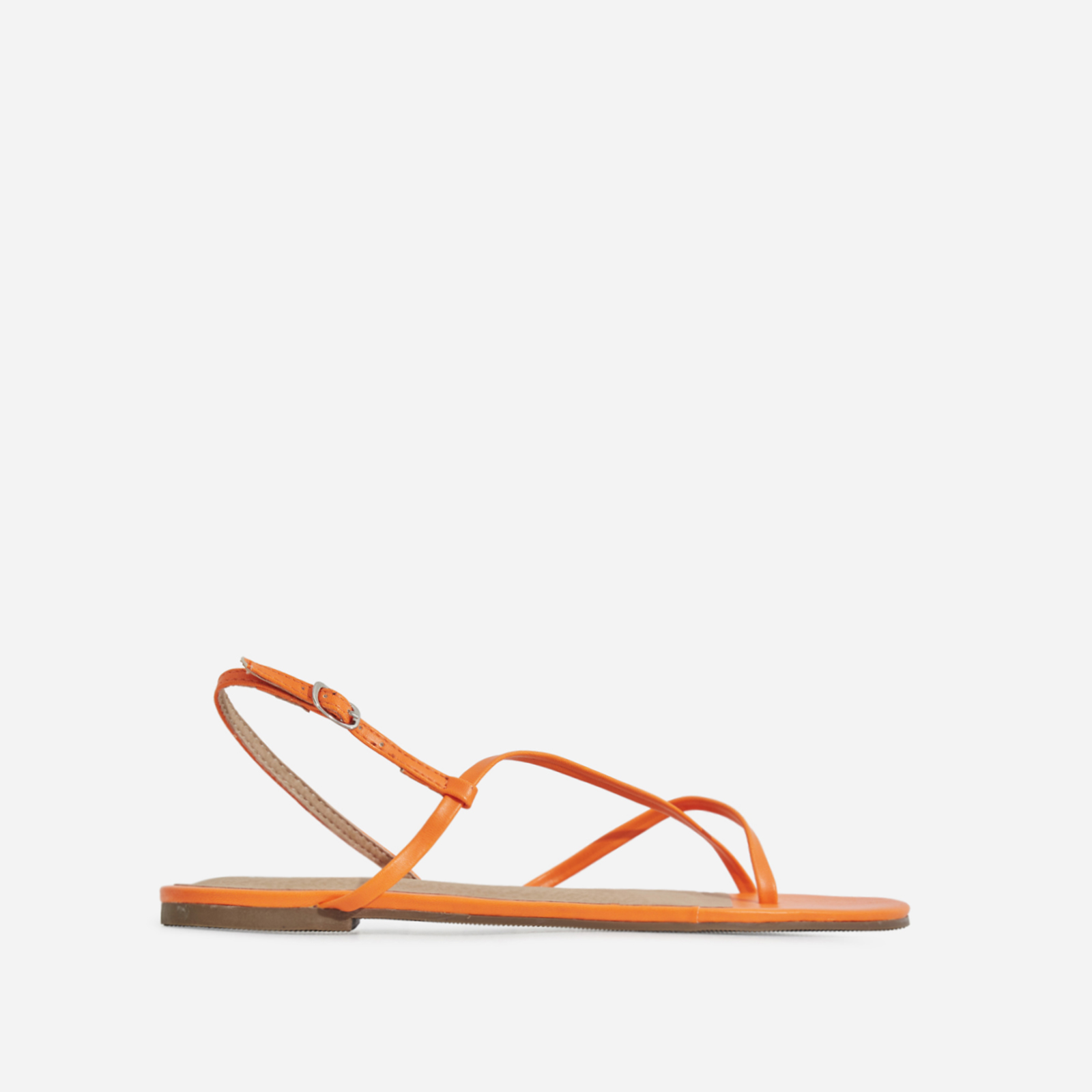 Sofie Toe Strap Sandal In Orange Faux Leather