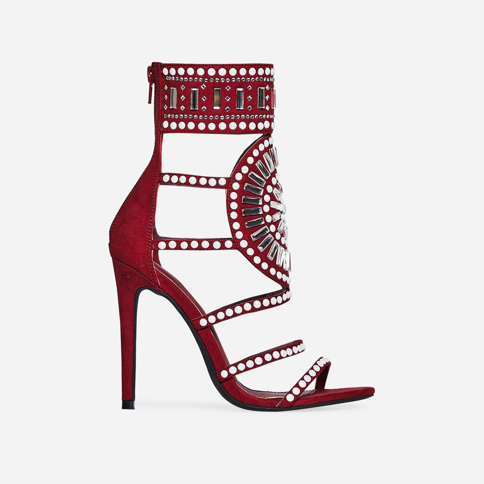 Solange Embellished Heel In Burgundy Faux Suede