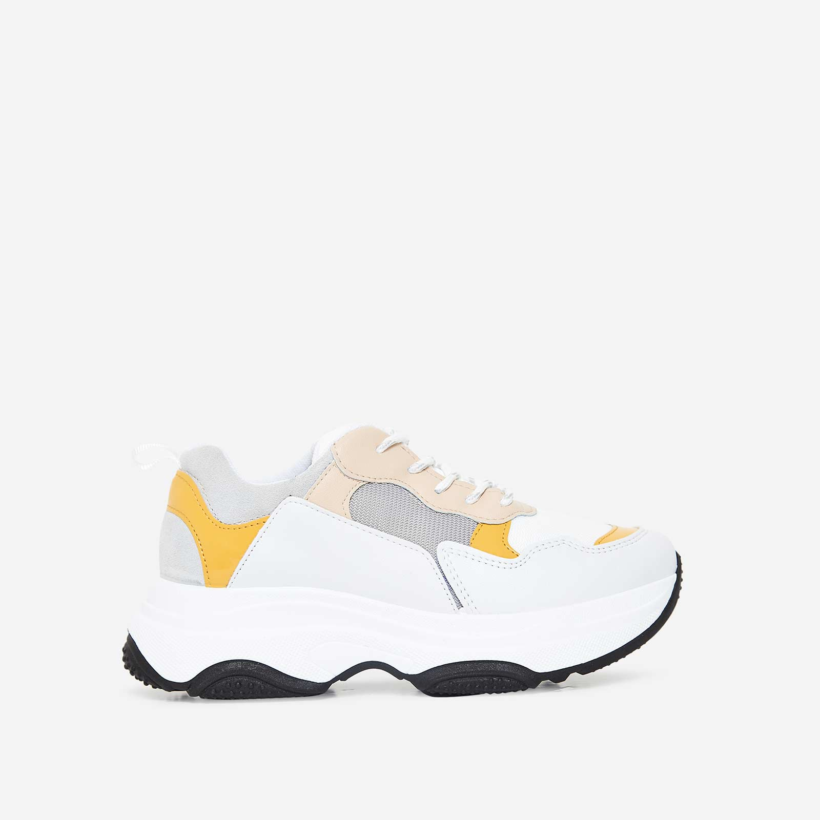 Soleil Chunky Trainer In White And Yellow