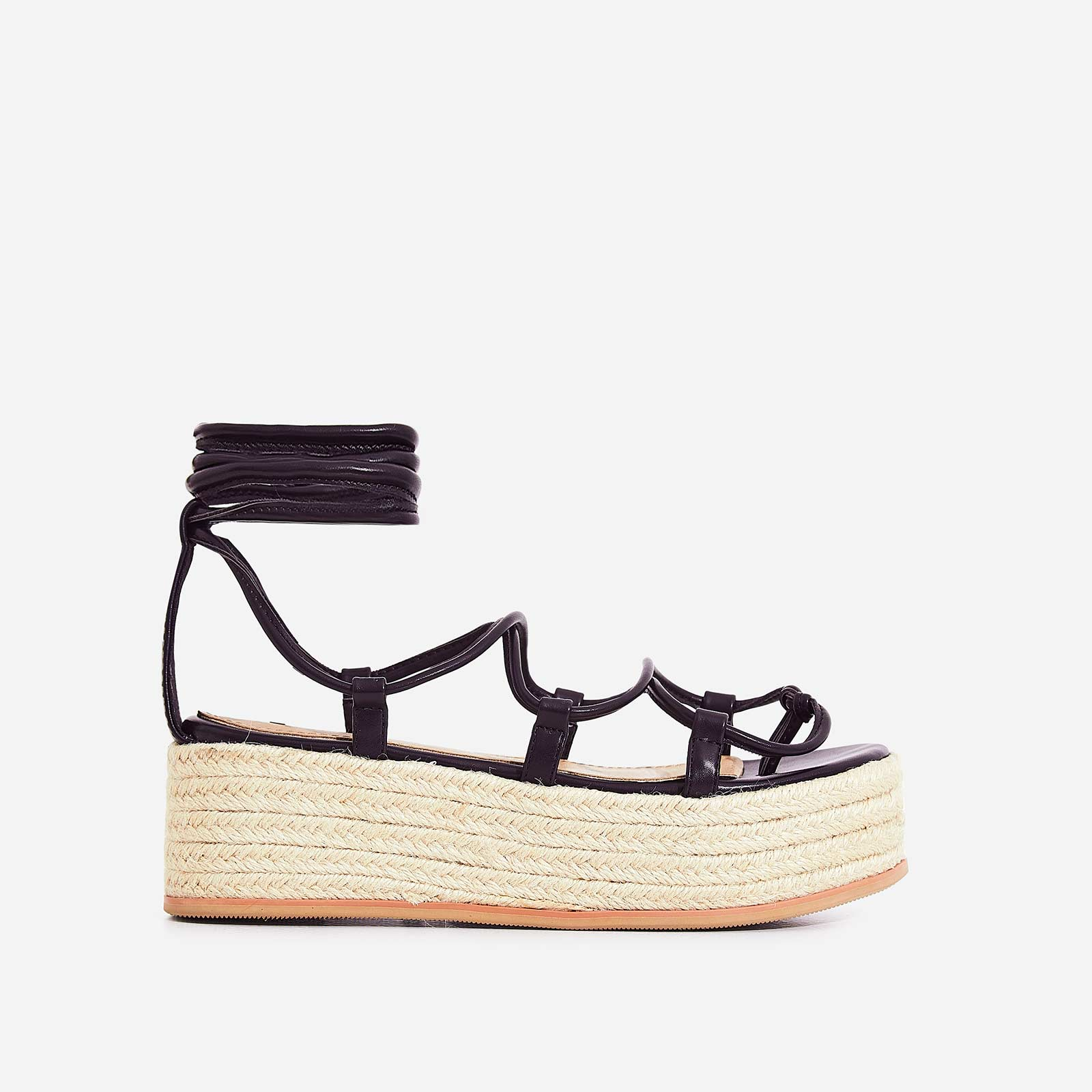 Sophina Lace Up Espadrille Flatform Sandal In Black Faux Leather