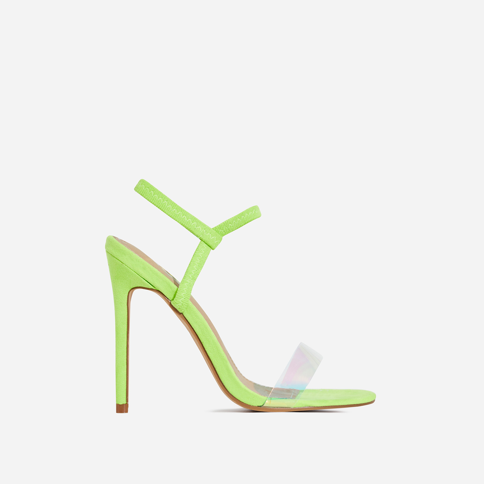 Soul Perspex Square Toe Heel In Lime Faux Suede