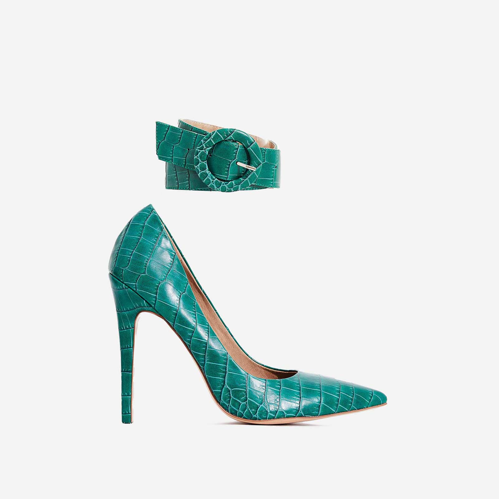 Stefano Ankle Strap Court Heel In Green Croc Print Faux Leather