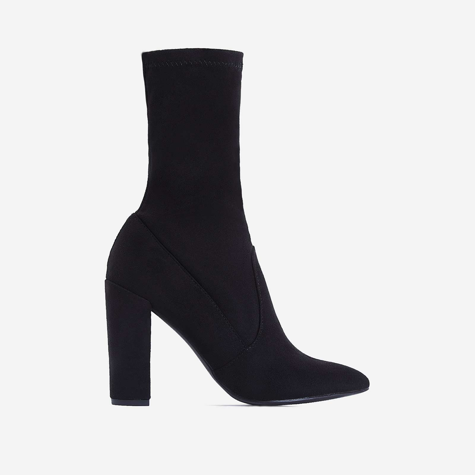 Stephanie Block Heel Ankle Sock Boot In Black Faux Suede