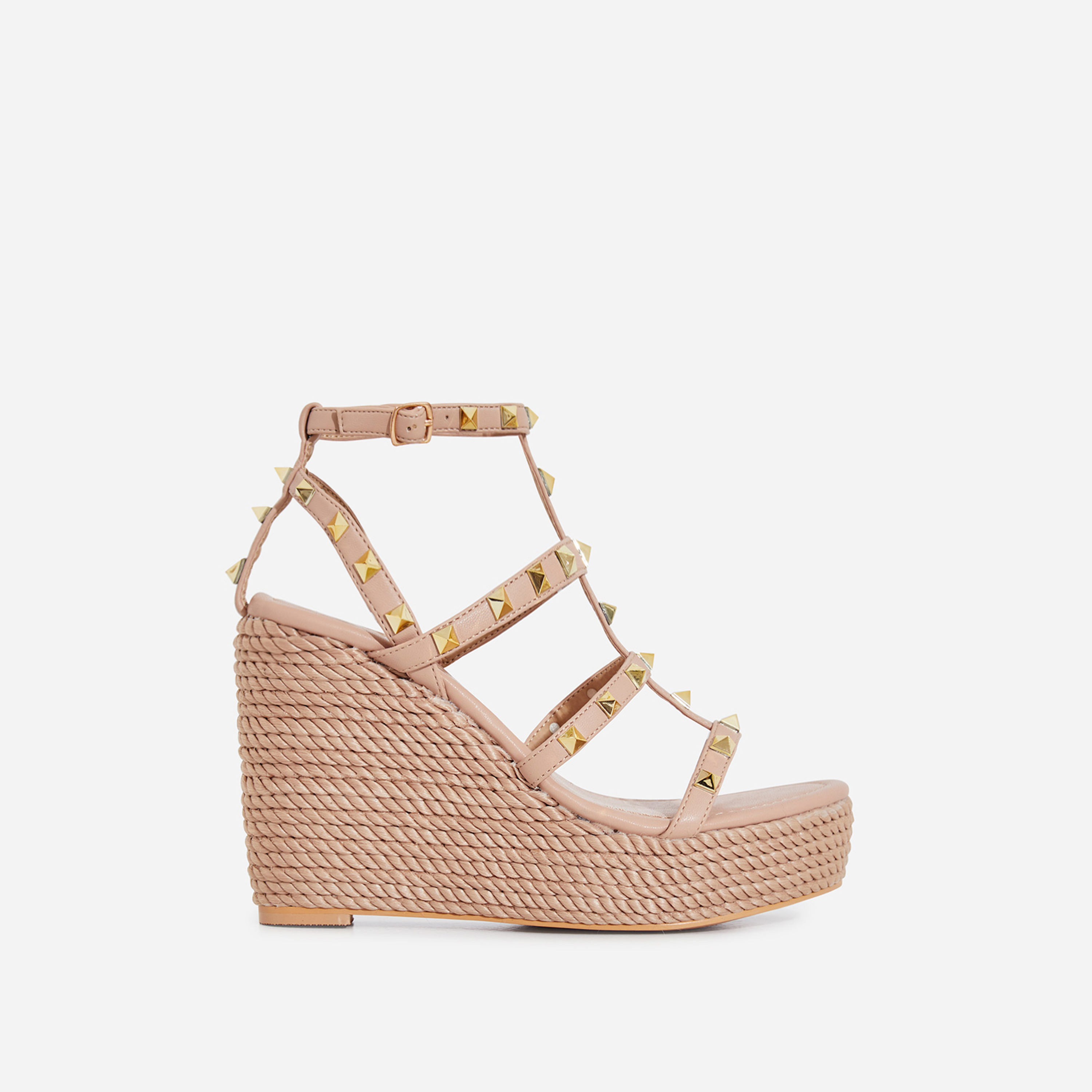 Summer Studded Detail Espadrille Wedge Platform Heel In Nude Faux Leather