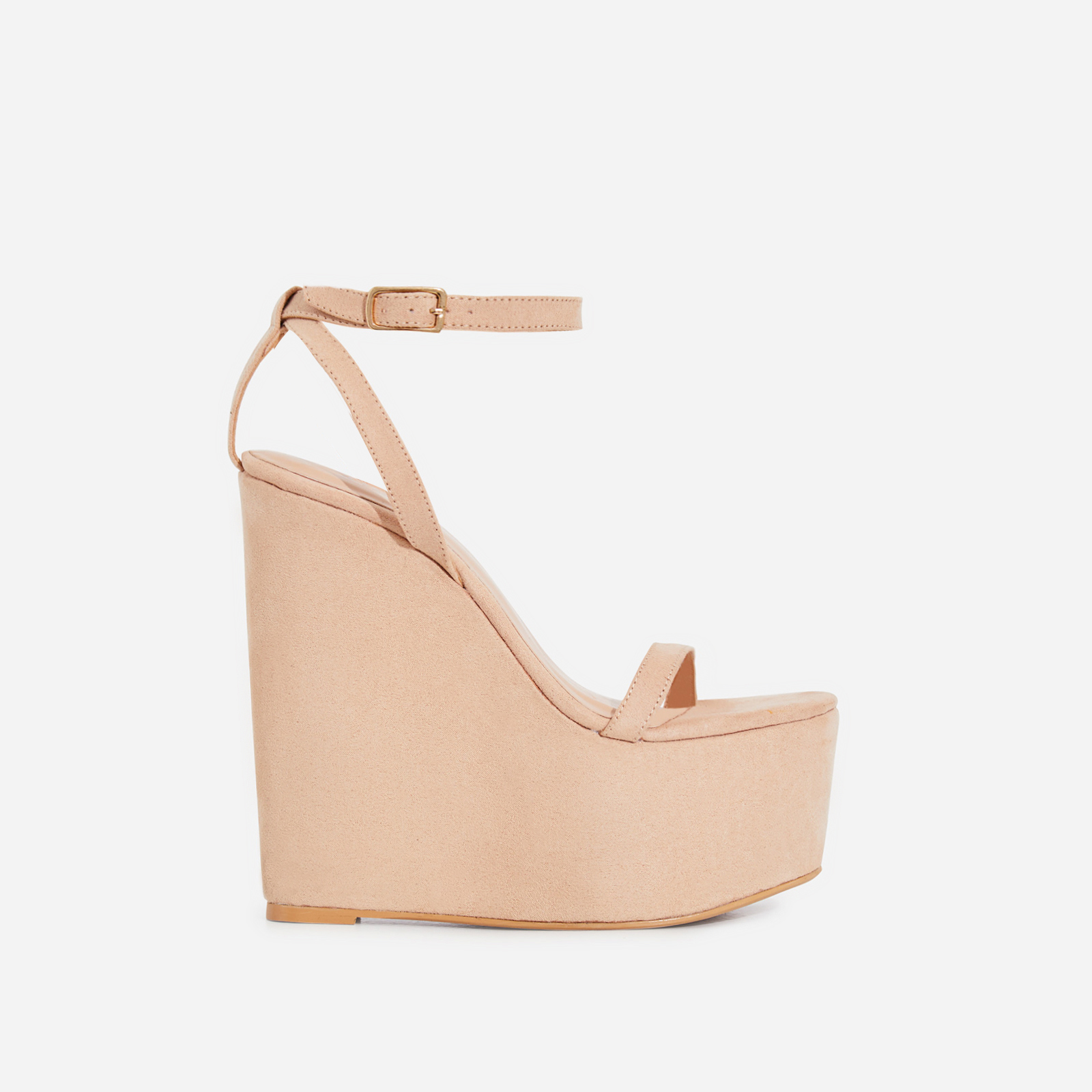 Sunlight Wedge Platform Heel In Nude Faux Suede