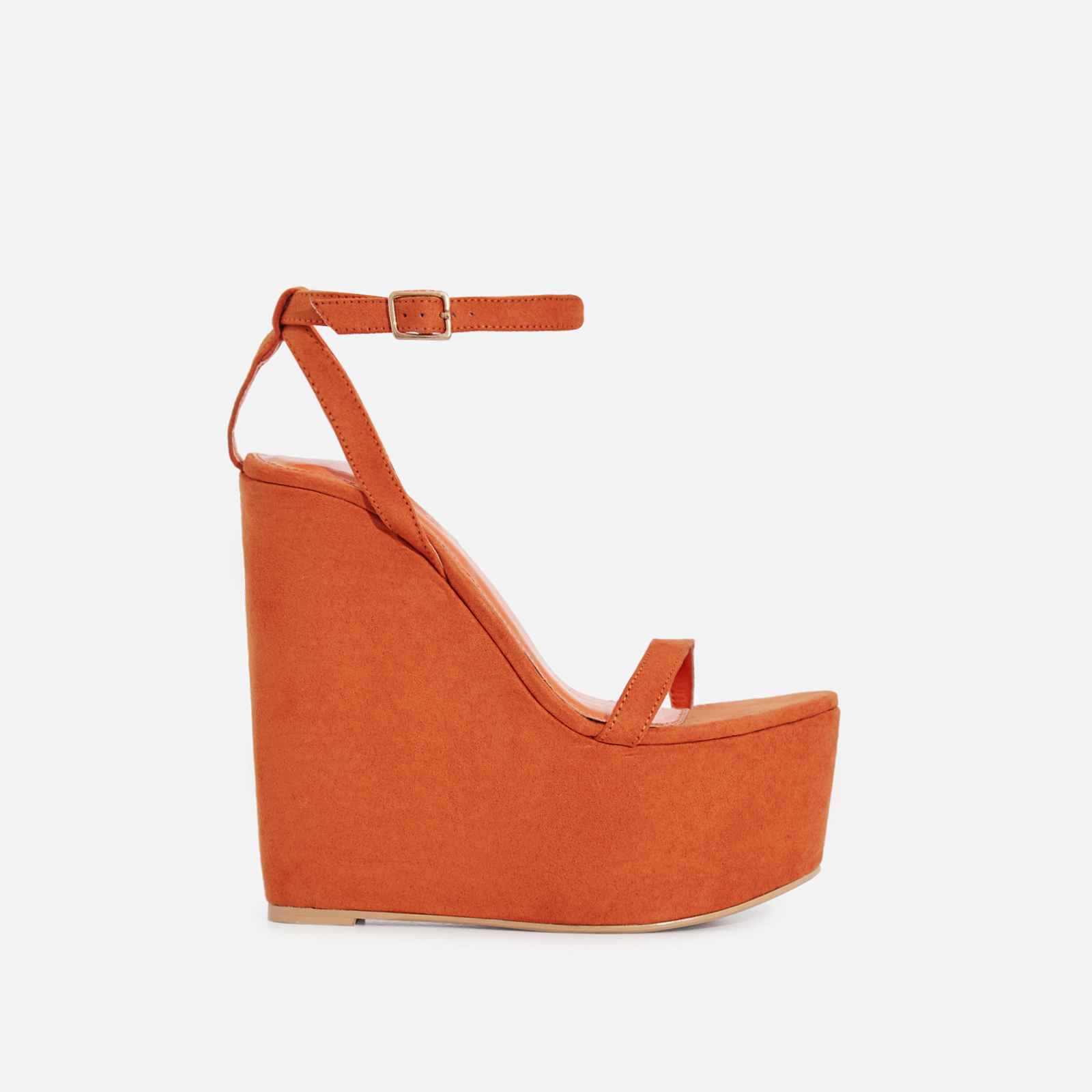 Sunlight Wedge Platform Heel In Orange Faux Suede