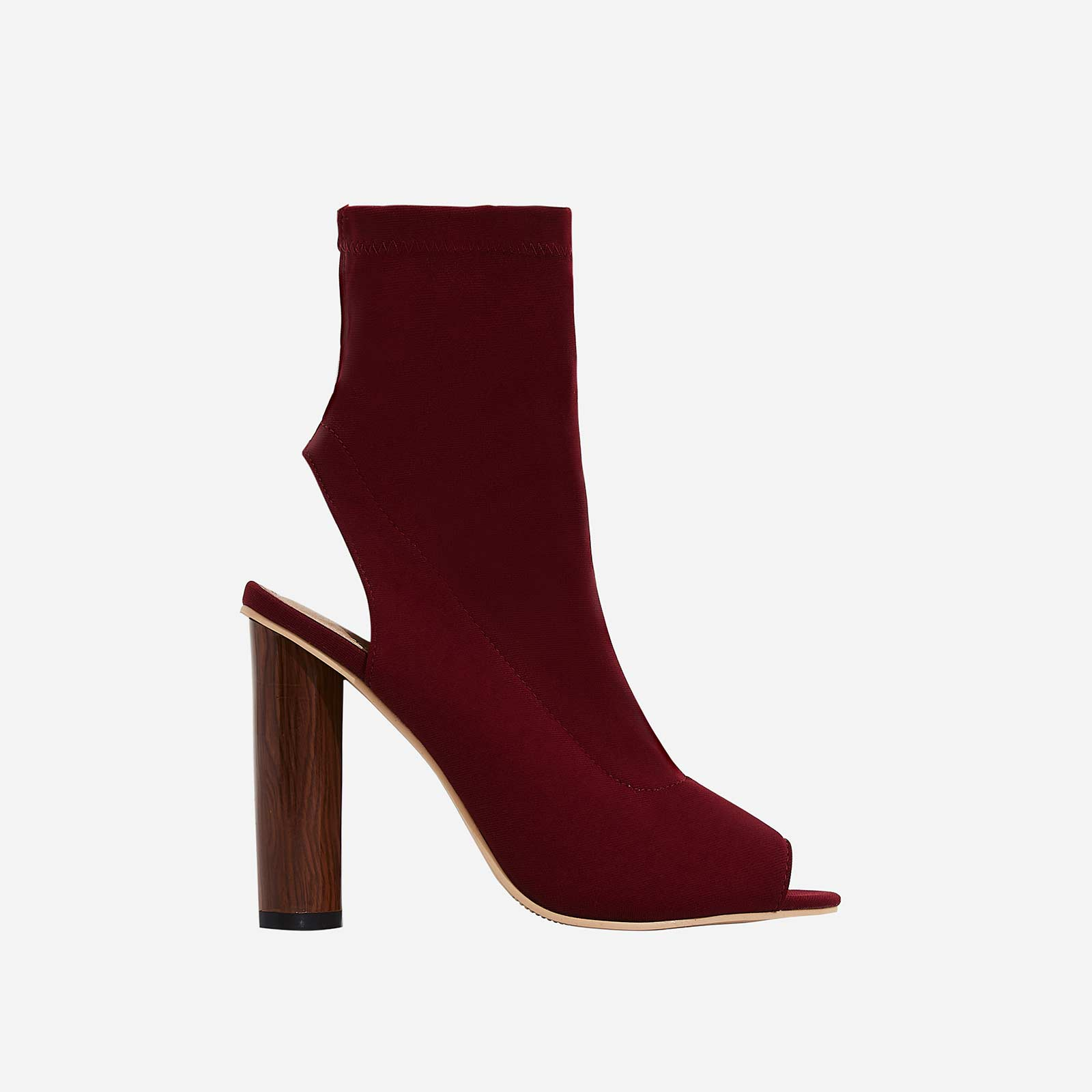 Sylvie Cut Out Peep Toe Ankle Boot In Burgundy Lycra