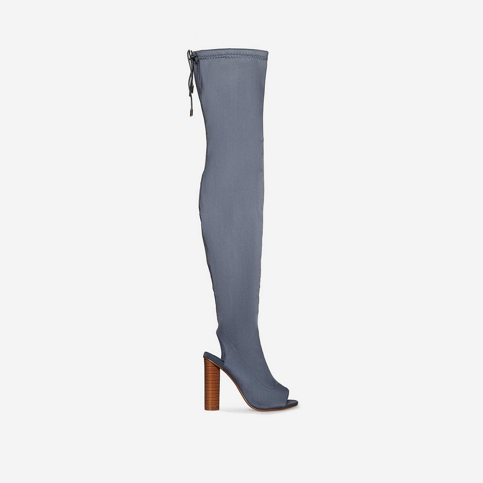 Corinne Cut Out Peep Toe Thigh High Long Boot In Grey Lycra
