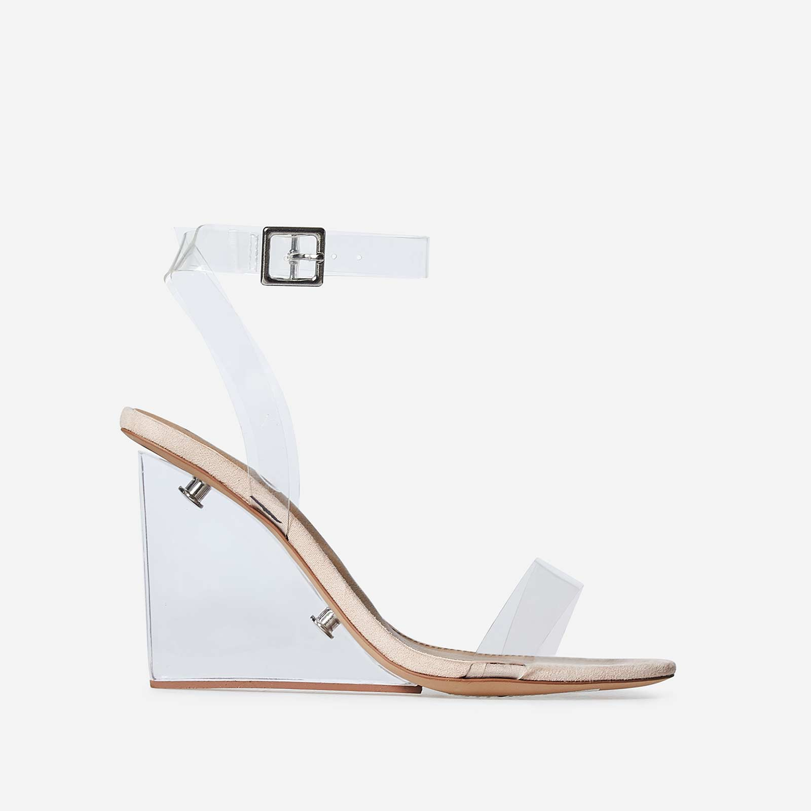 Thea Perspex Wedge Heel In Nude Faux Suede