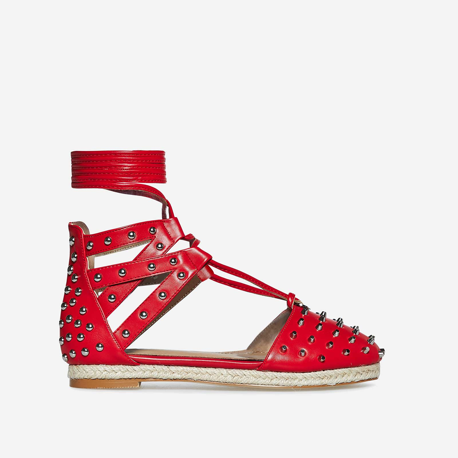 Russo Studded Detail Espadrille In Red Faux Leather