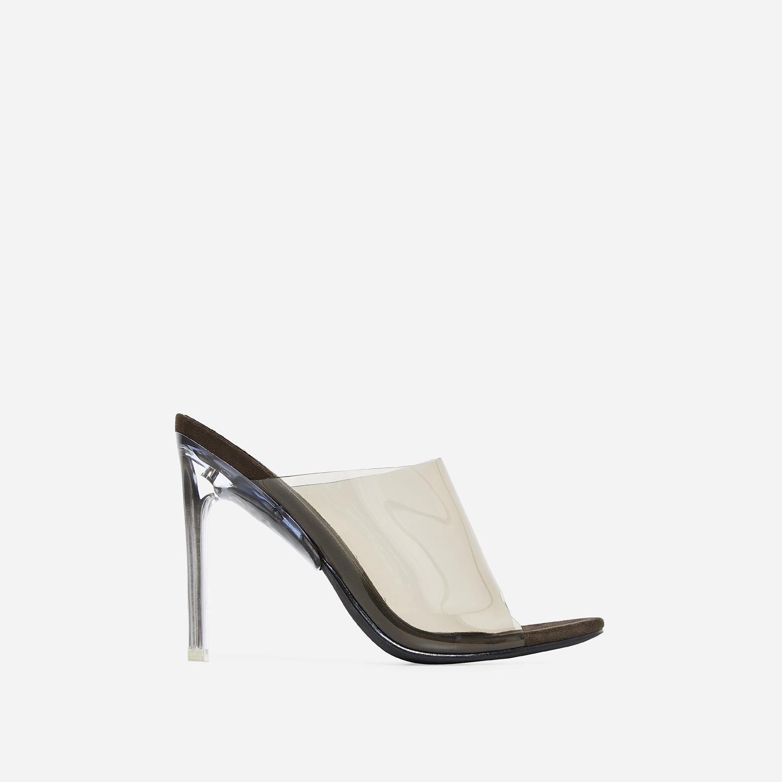 Theory Peep Toe Flat Perspex Heel Mule In Khaki Faux Suede