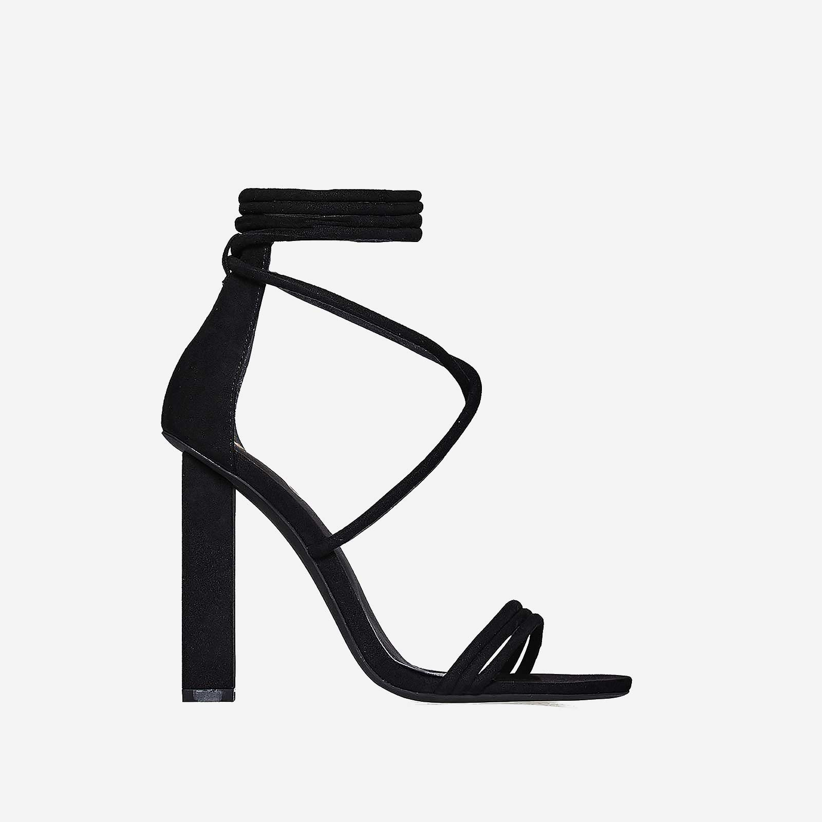Torie Lace Up Block Heel In Black Faux Suede