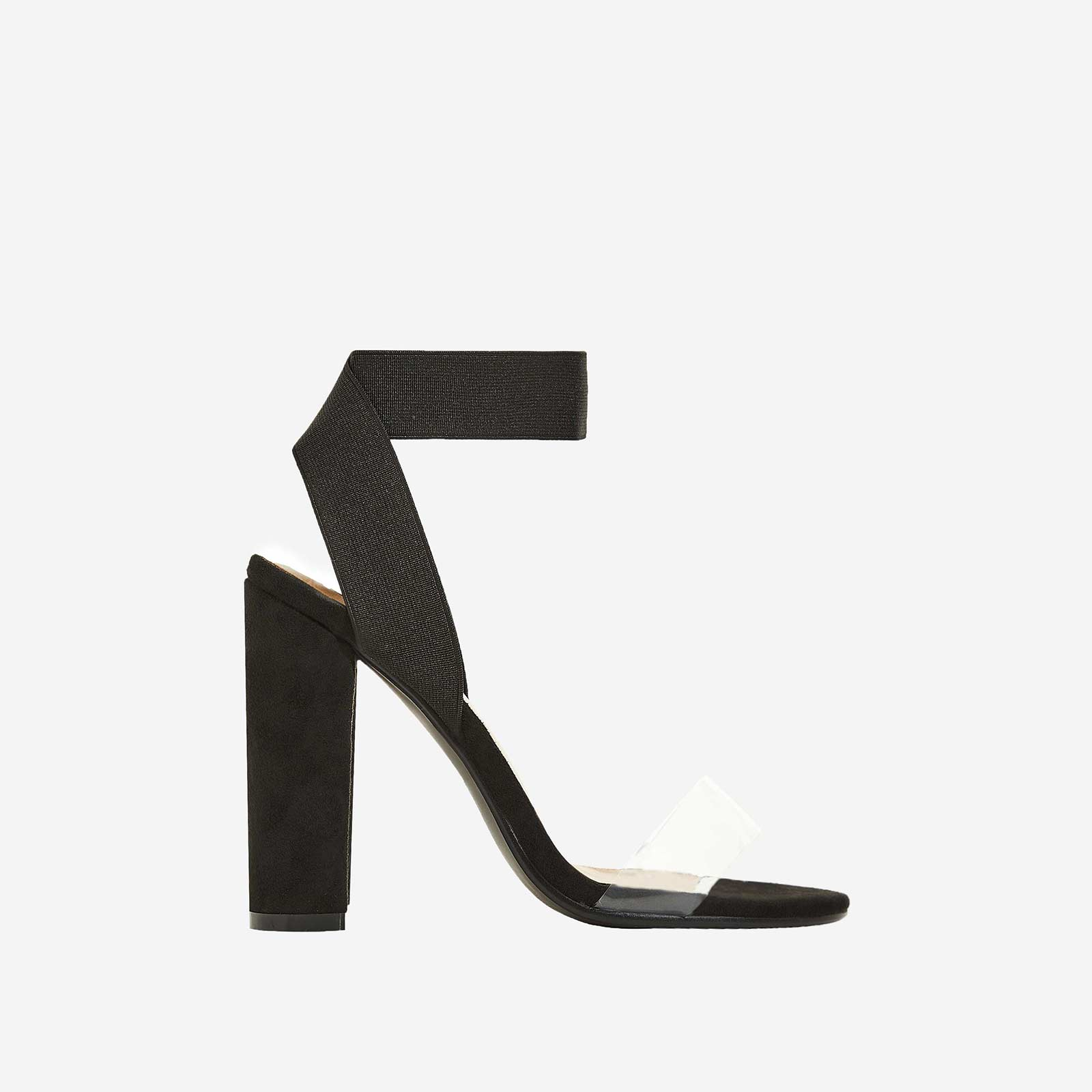 Tory Perspex Detail Block Heel In Black Faux Suede