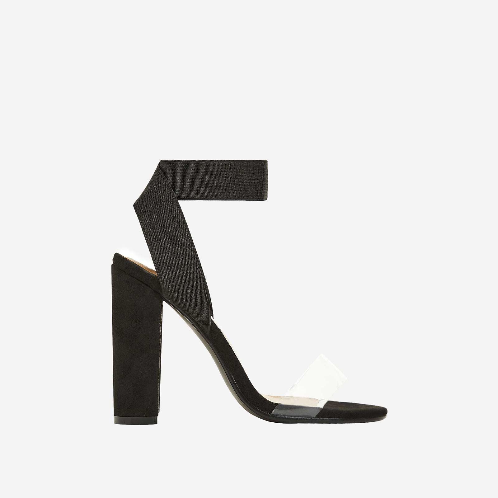 Tory Perspex Detail Block Heel In Black Faux Suede