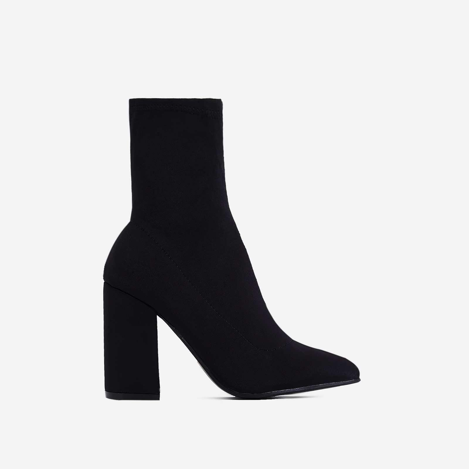 Zana Block Heel Sock Boot In Black Lycra