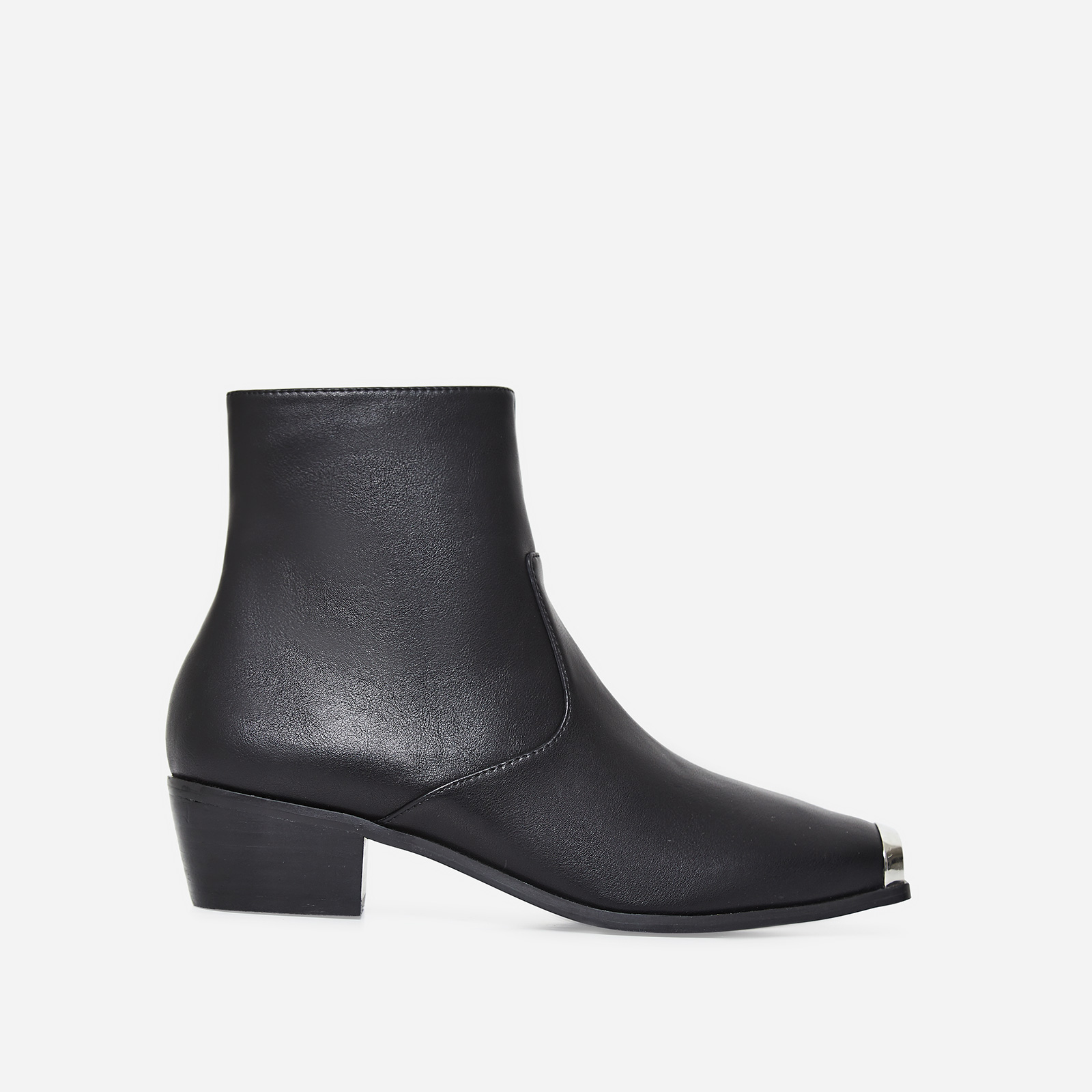 Tris Toe Cap Western Ankle Boot In Black Faux Leather