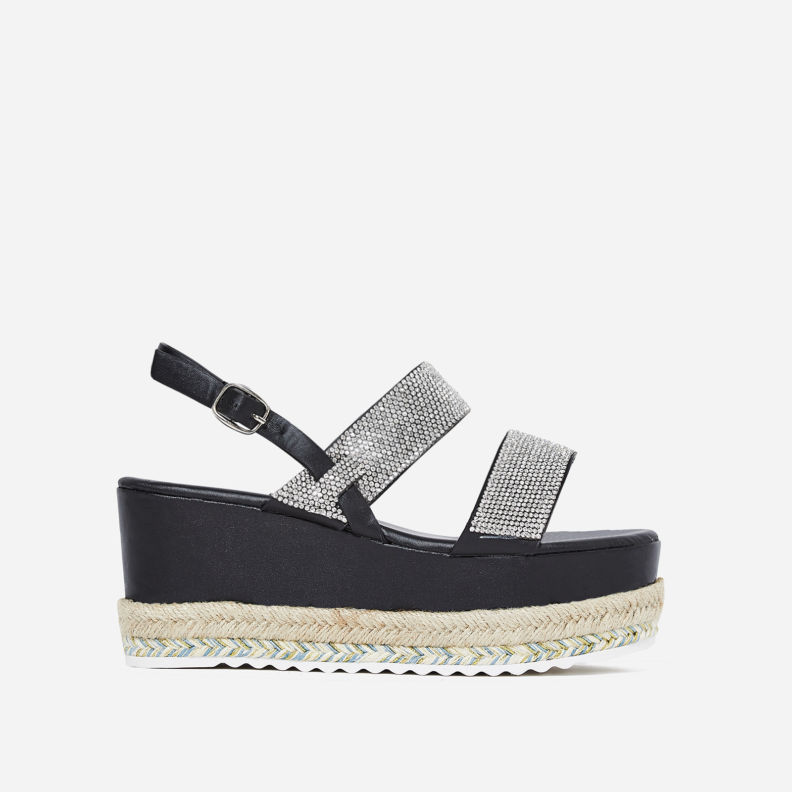 Jaina Diamante Flatform Espadrille Sandal In Black Faux Leather