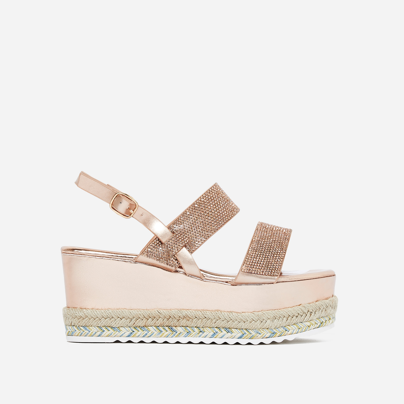 Jaina Diamante Flatform Espadrille Sandal In Rose Gold Faux Leather