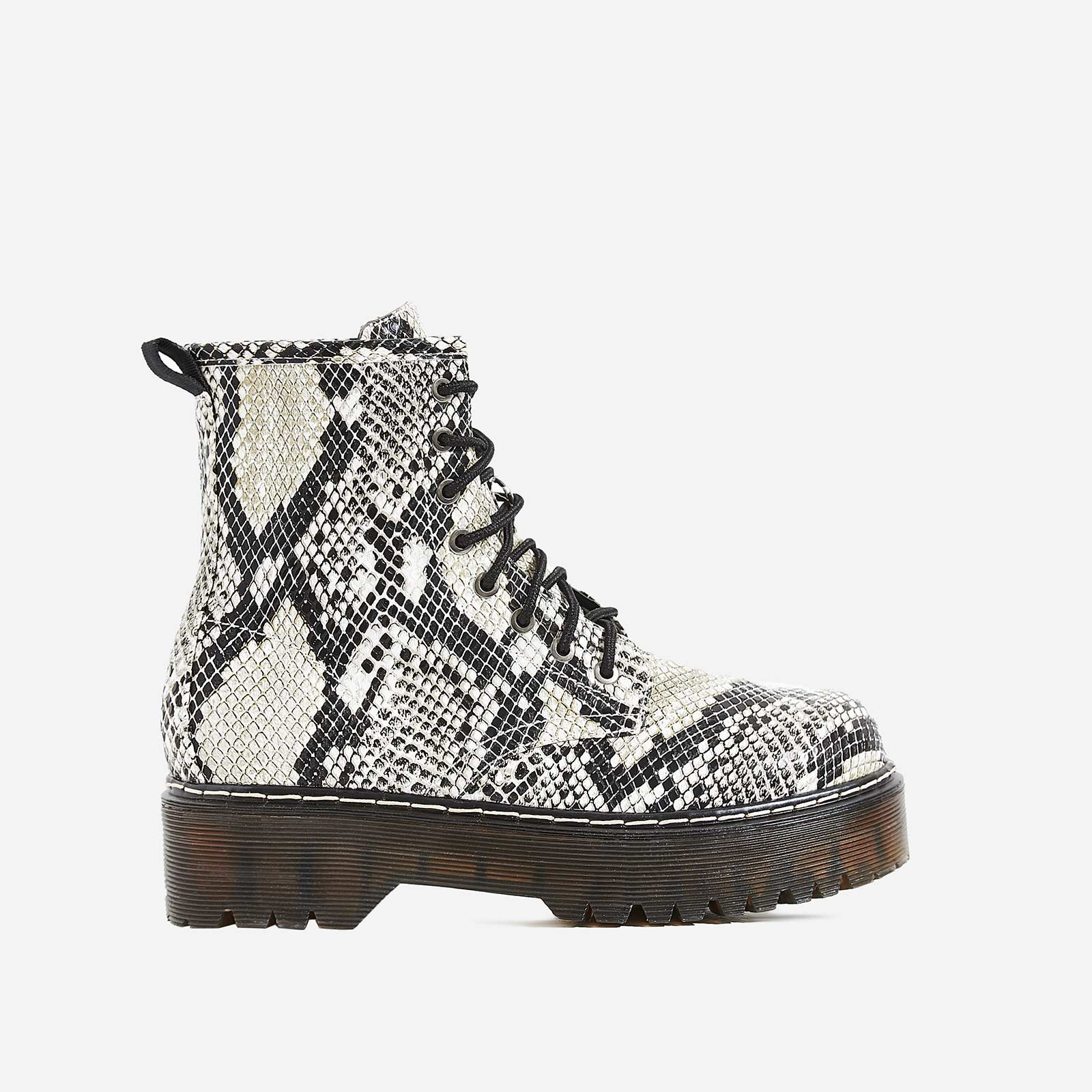 Adler Chunky Sole Lace Up Ankle Biker Boot In Grey Snake Print Faux Leather