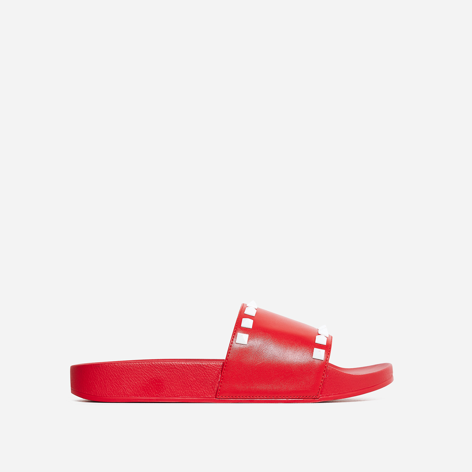Tyga Studded Detail Slider In Red Rubber