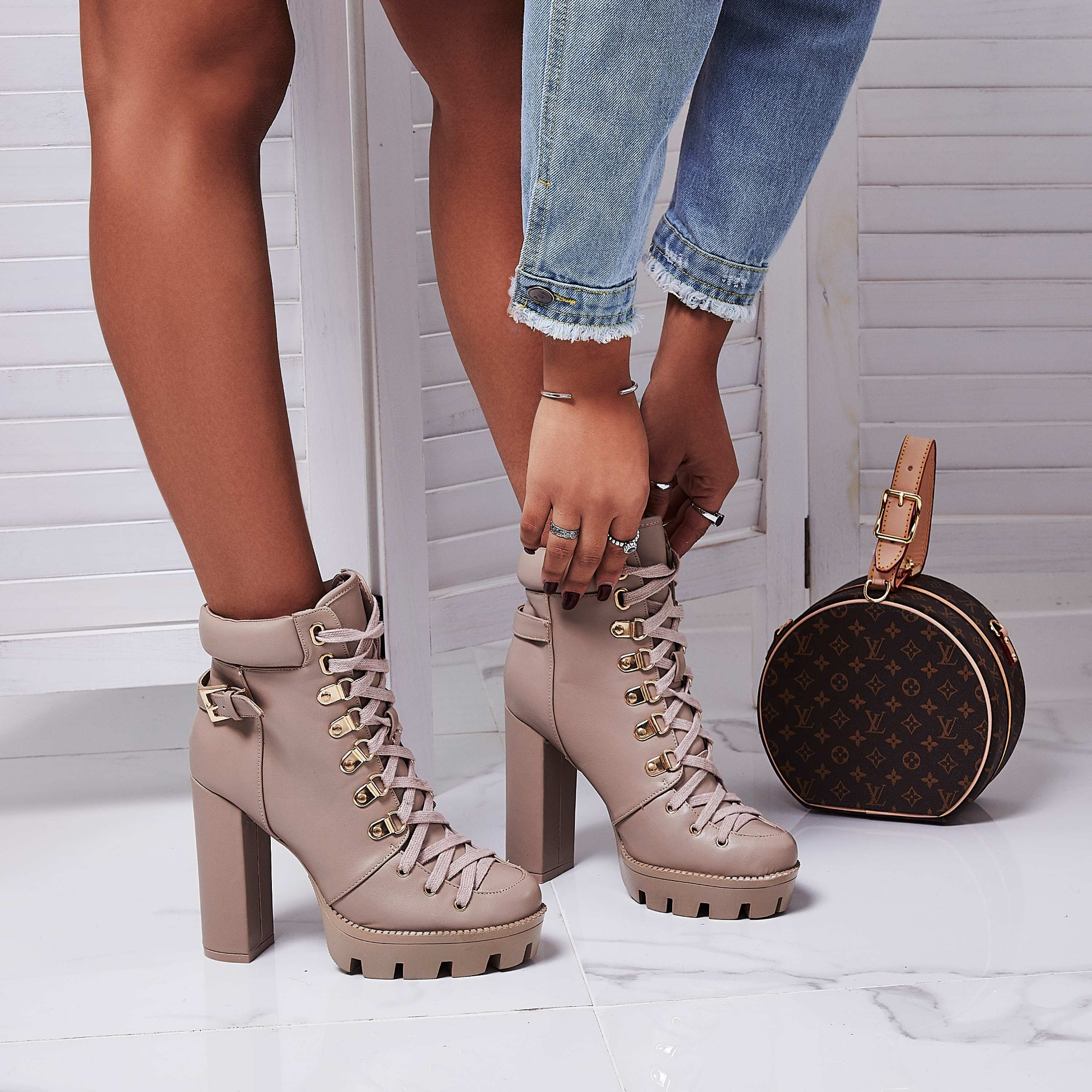 Veera Platform Ankle Biker Boot In Nude Faux Leather