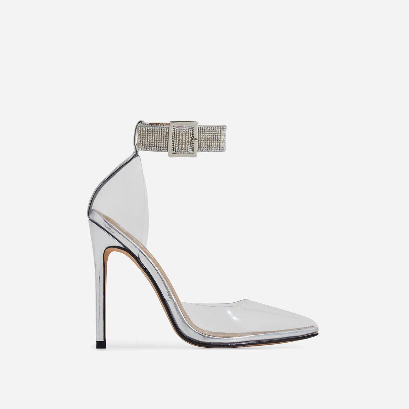 VIP Diamante Detail Strap Perspex Heel In Silver Patent
