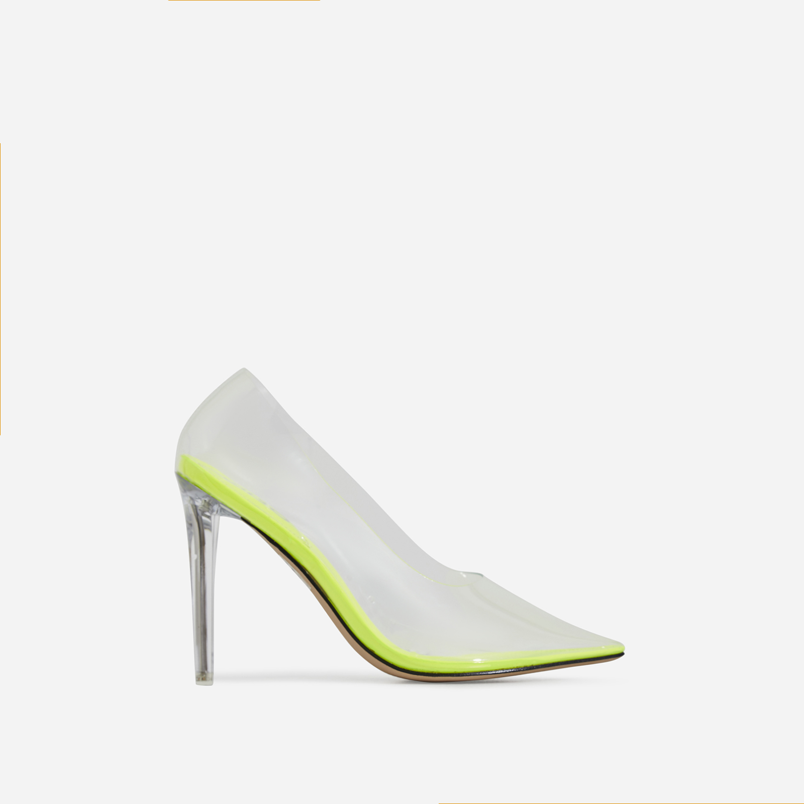 Virginia Perspex Court Heel In Lime Green Patent