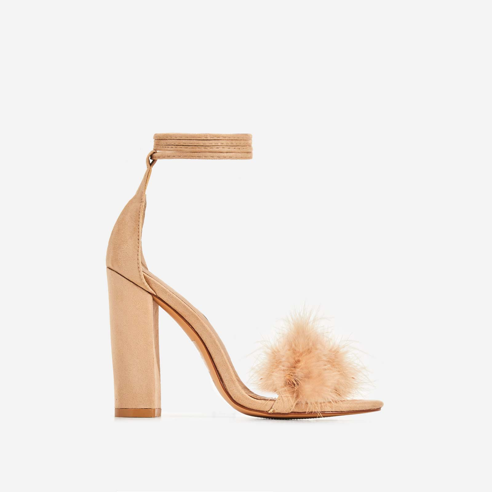 Vision Lace Up Fluffy Heel In Nude Faux Suede Image 1