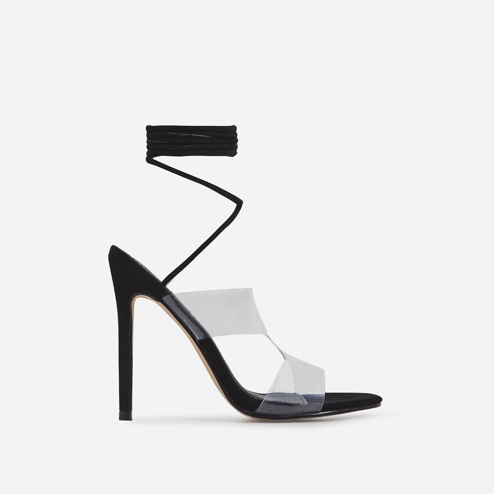 Vivica Lace Up Perspex Heel In Black Faux Suede
