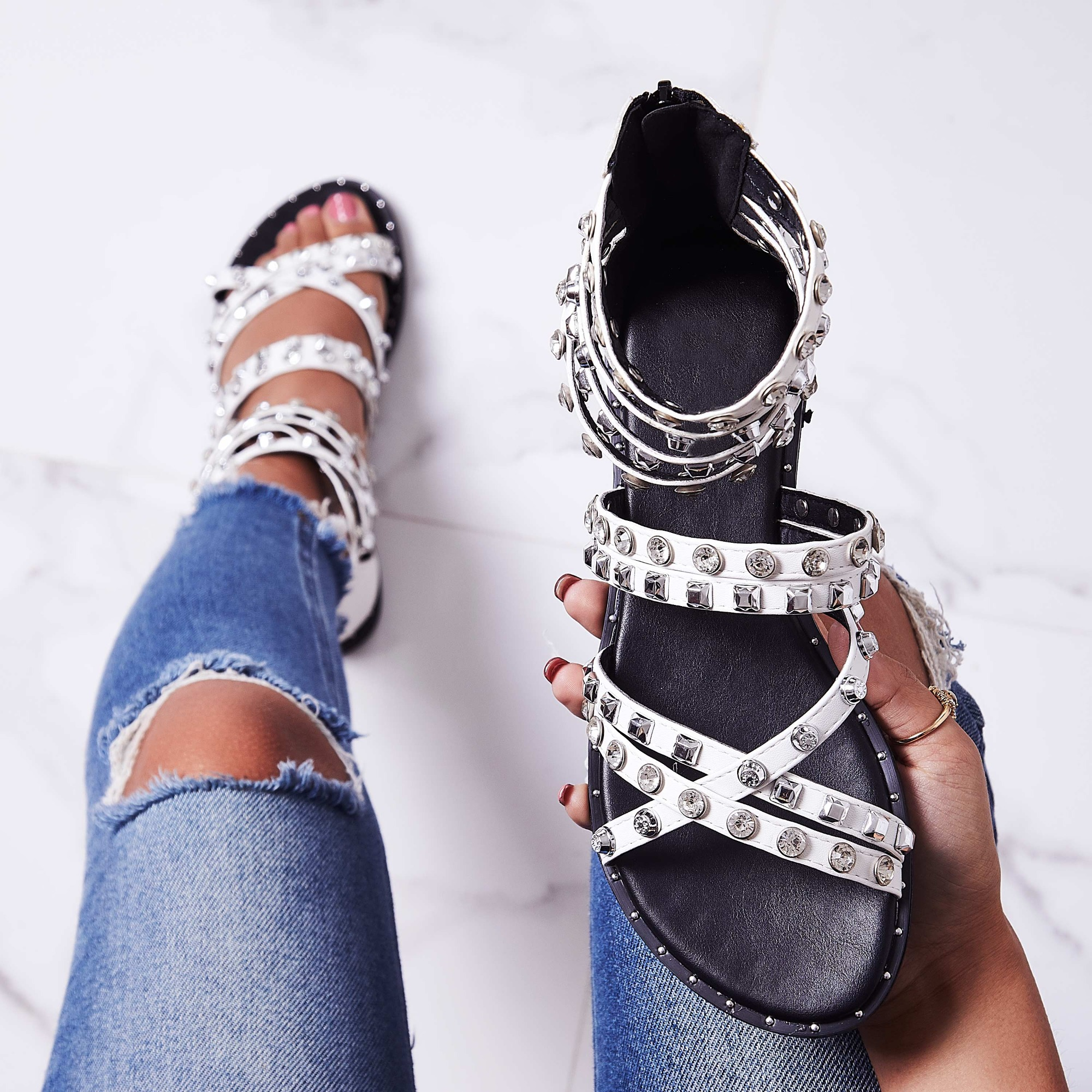 Zephyr Crystal Studded Gladiator Sandal In White Faux Leather