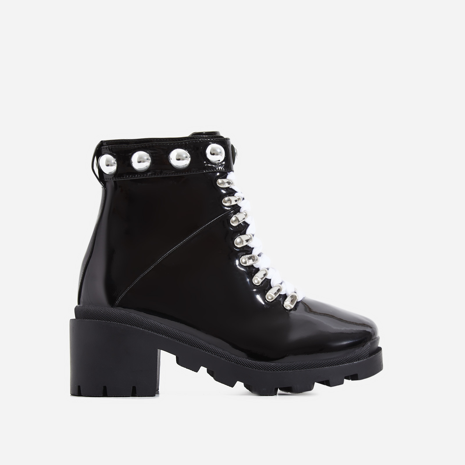 Winky Studded Chunky Sole Lace Up Ankle Biker Boot In Black Patent