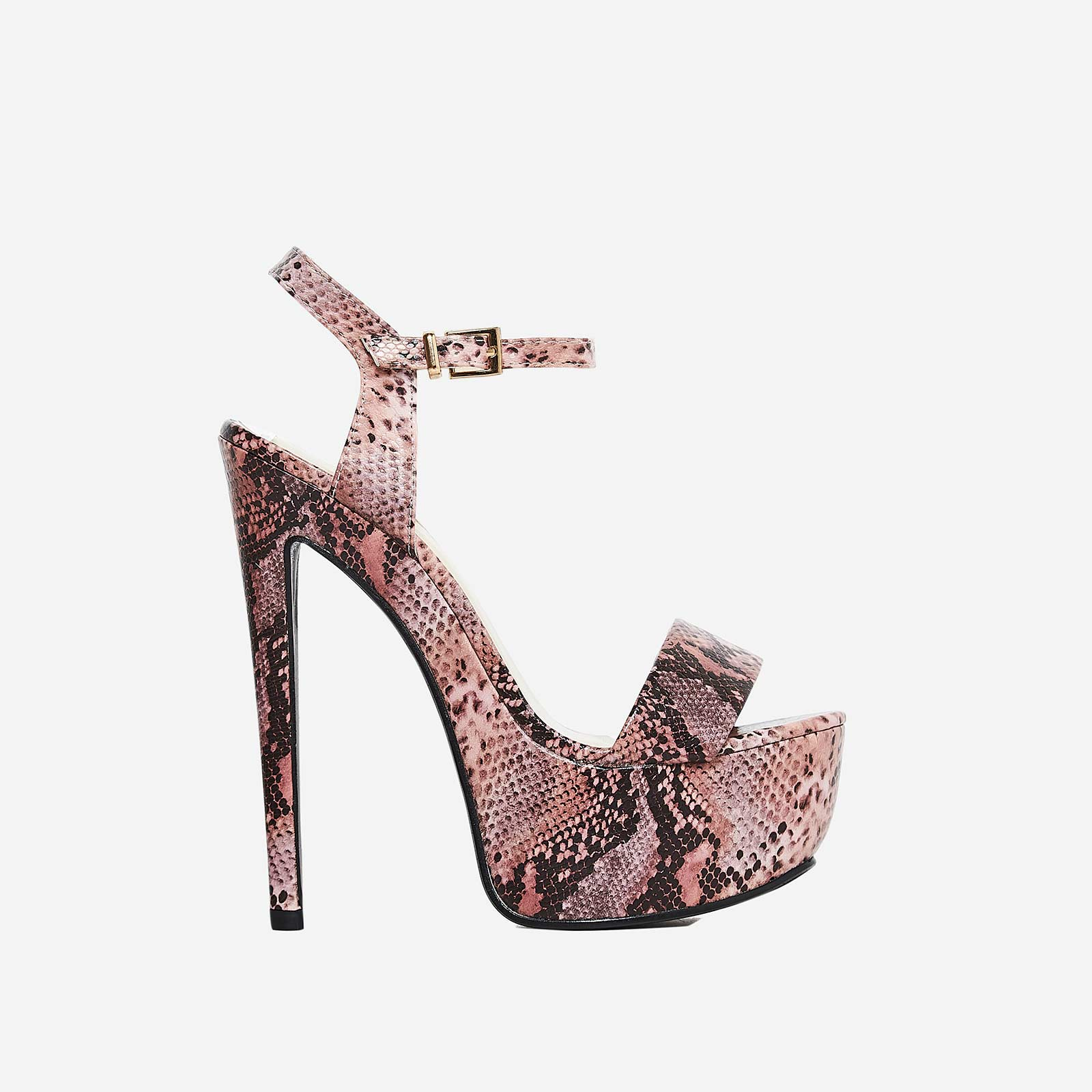 Racer Platform Heel In Pink Snake Print Faux Leather