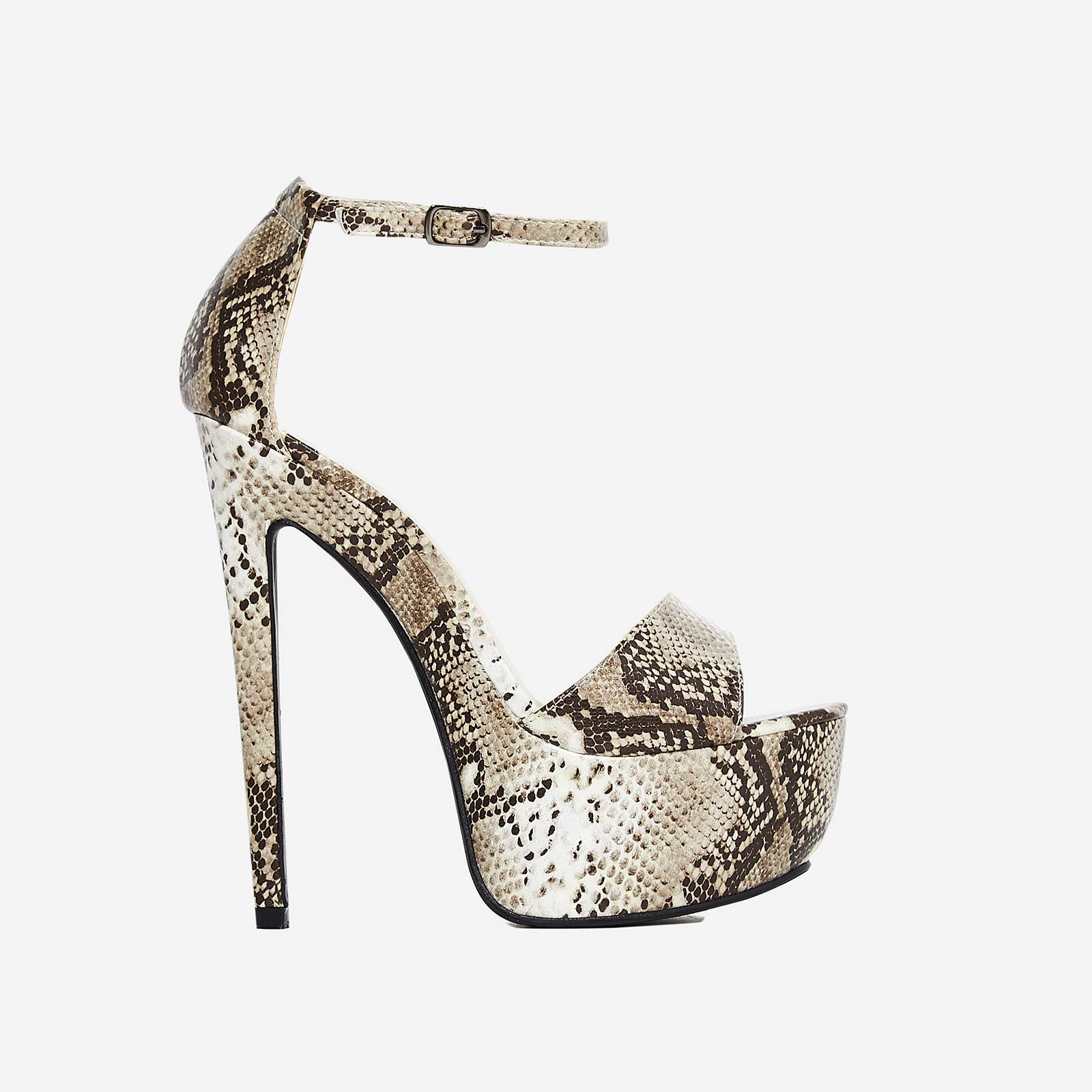 Mamba Platform Heel In Nude Snake Print Faux Leather