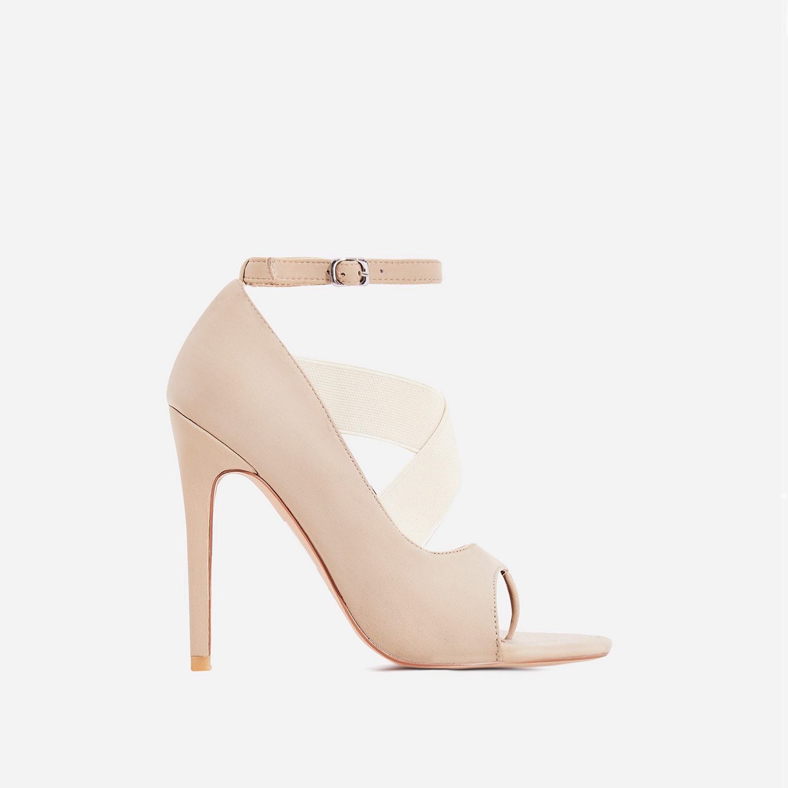 Yara Caged Elasticated Peep Toe Heel In Nude Lycra