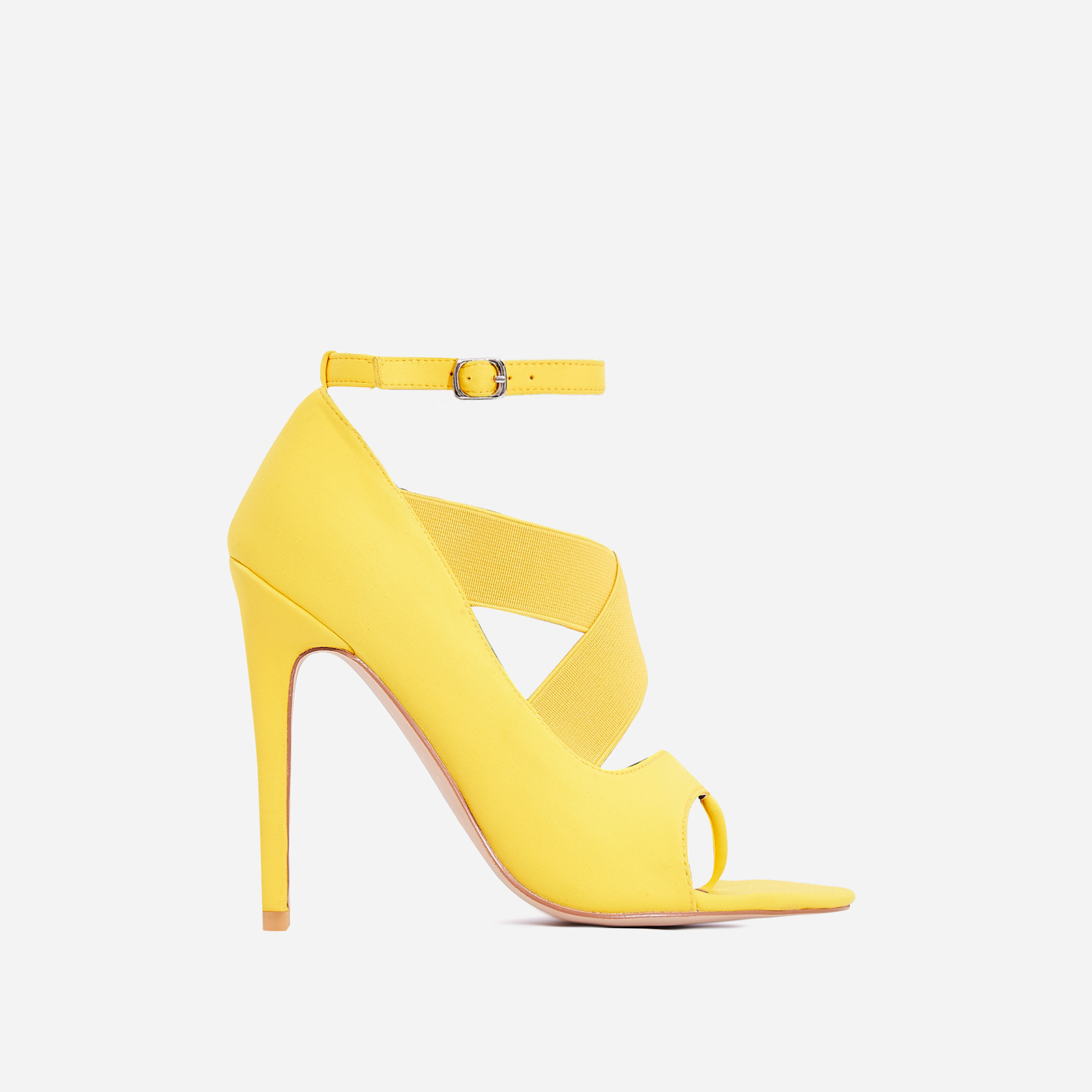 Yara Caged Elasticated Peep Toe Heel In Yellow Lycra