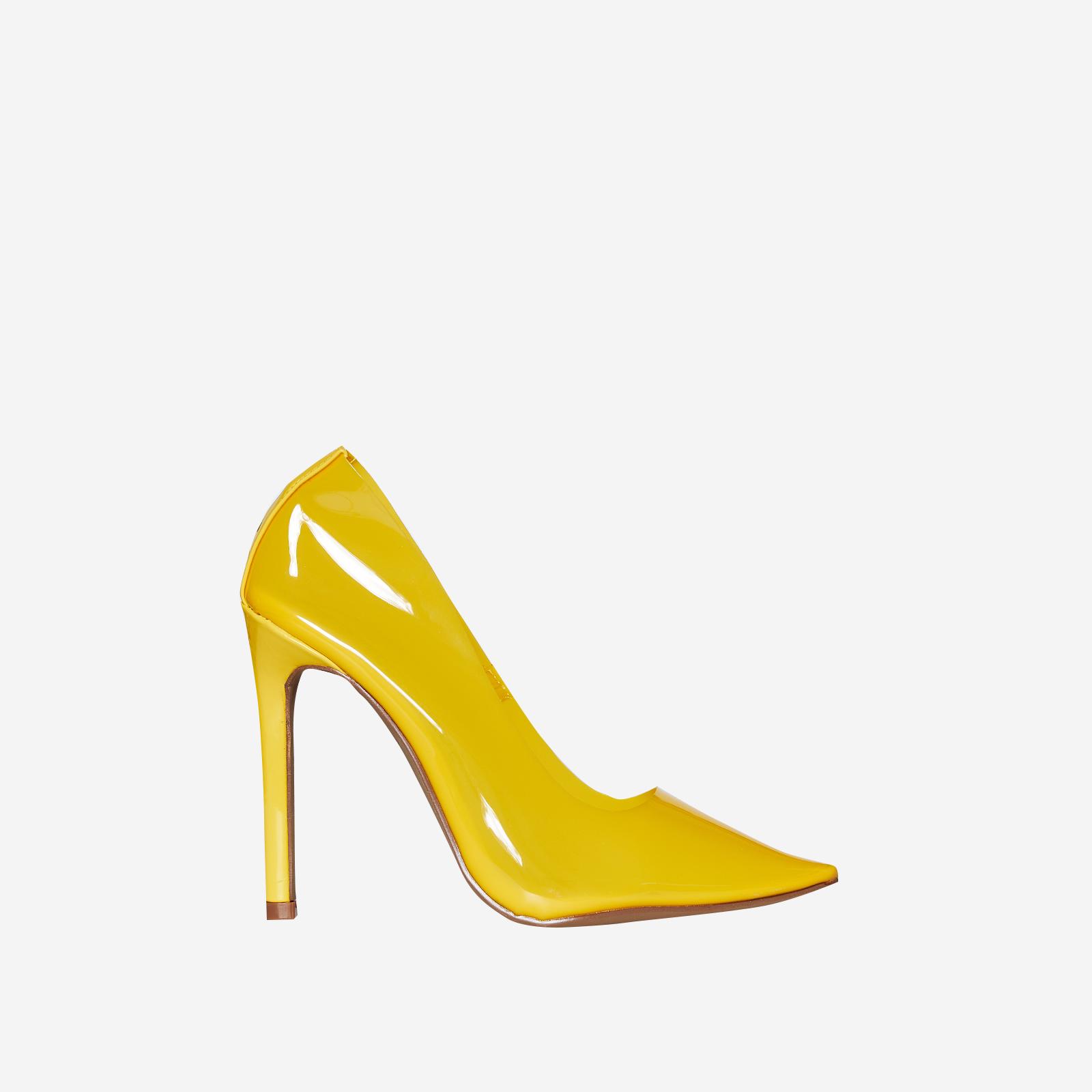 Virginia Perspex Court Heel In Yellow Patent