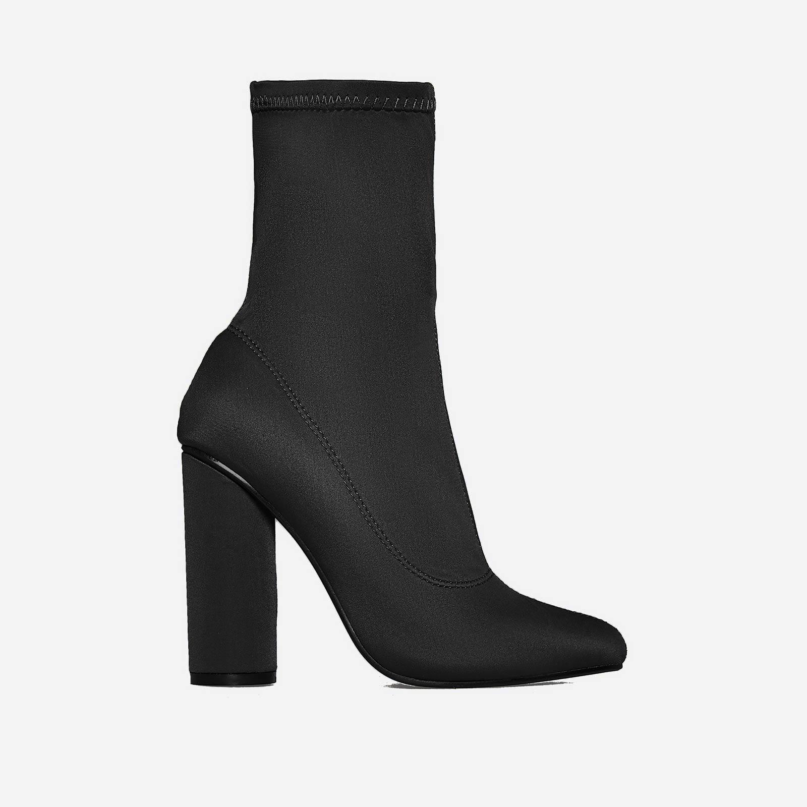 Noelle Block Heel Ankle Boot In Black Lycra