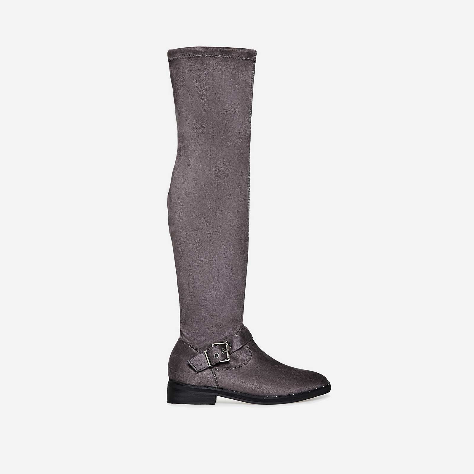 Anastasia Buckle Detail Long Boot In Light Grey Faux Suede